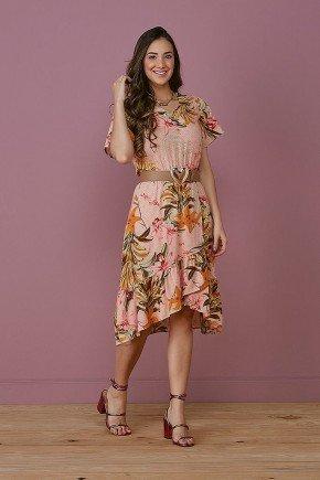 vestido rose barrado transpassado valentina tata martello frente