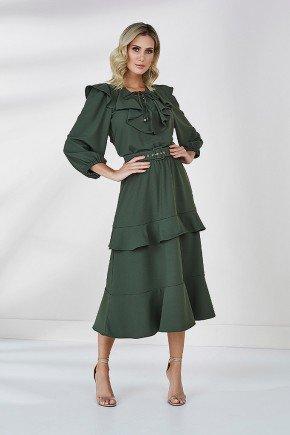 vestido verde militar com babados emma cloa frente