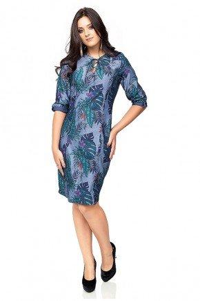 vestido estampa floral com folhagem manga 3 4 dyork frente