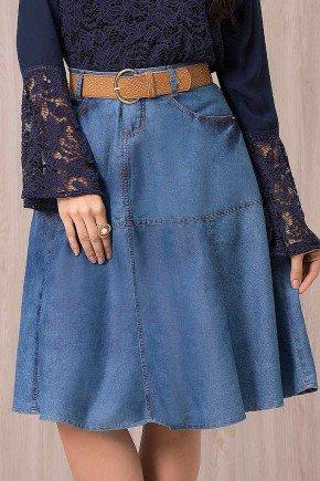 saia jeans gode com recortes laura rosa frente baixo