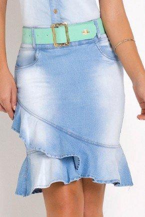 saia jeans sino babado frontal laura rosa frente baixo