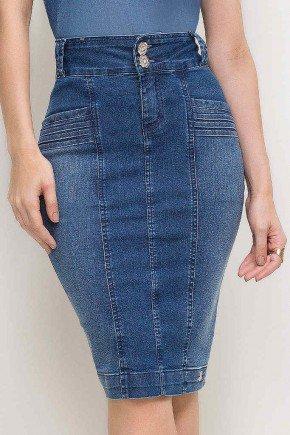 saia midi jeans com recortes laura rosa