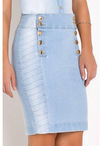 saia jeans botoes laterais detalhes recortes laura rosa frente baixo