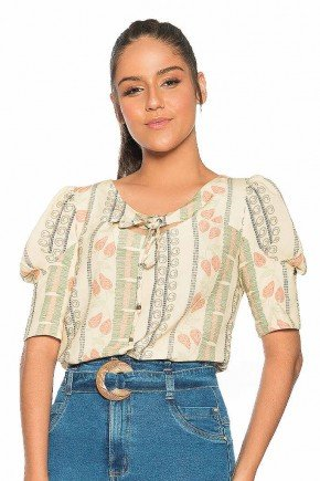 blusa estampada mangas bufantes nitido jeans frente cima