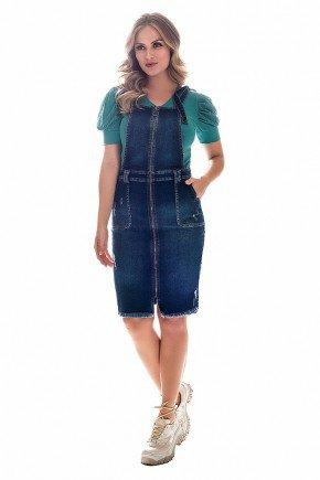 salopete jeans com ziper frontal nitido frente