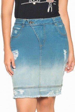 saia jeans efeito degrade com puidos nitido frente baixo