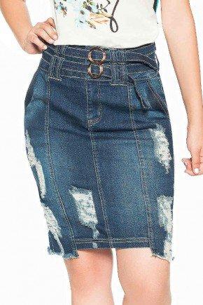 saia jeans destroyed com cinto duplo nitido frente baixo