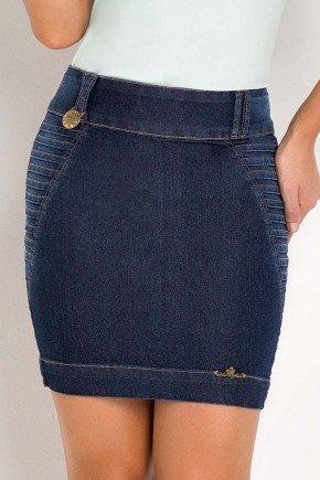 saia jeans lavagem escura tradicional laura rosa frente baixo