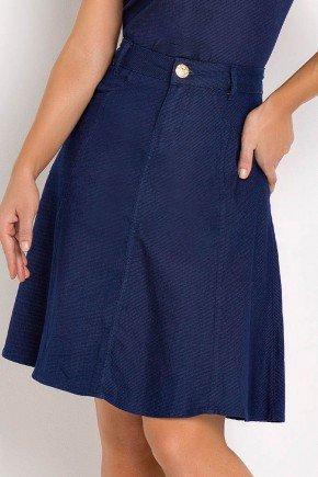 saia jeans evase azul marinho laura rosa frente baixo