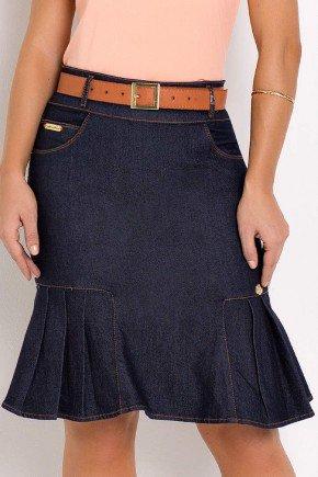 saia jeans sino com pregas azul escuro laura rosa frente baixo
