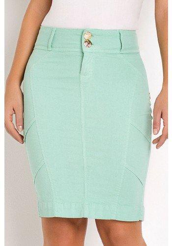 saia jeans tradicional verde com recortes laura rosa frente baixo