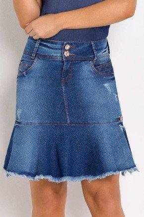 saia jeans sino detalhe barra desfiada laura rosa frente baixo