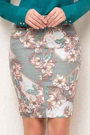 saia estampada jeans floral laura rosa frente baixo