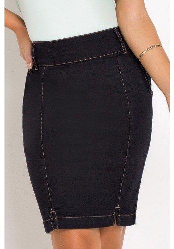 saia jeans preta reta costura aparente laura rosa frente baixo