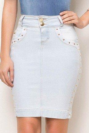 saia jeans azul claro detalhes em pespontos laura rosa frente baixo