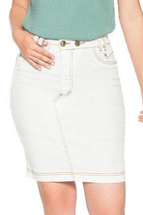 saia jeans branca recorte assimetrico nitido frente baixo