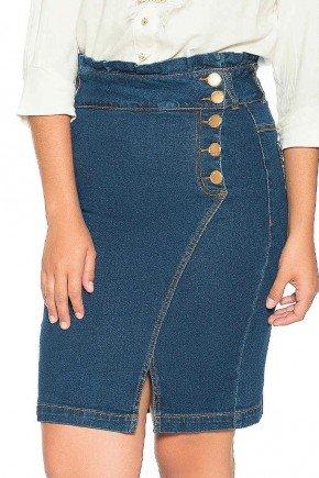 saia jeans recorte assimetrico lateral nitido frente baixo