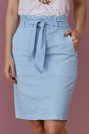 saia jeans azul bebe com bolsos e amarracao tata martello frente baixo