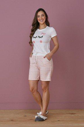 pijama feminino rosa claro estampado tata martello frente