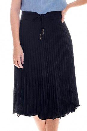 saia plissada preta cintura alta com amarracao nitido frente