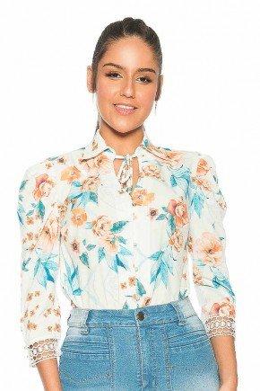 camisa feminina manga 3 4 estampa exclusiva nitido