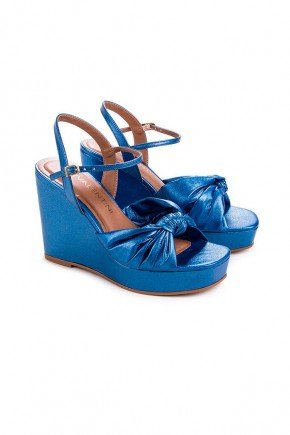 sandalia anabela anitta napa metalizado azul di valentini