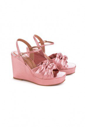 sandalia anabela anitta napa rosa di valentini