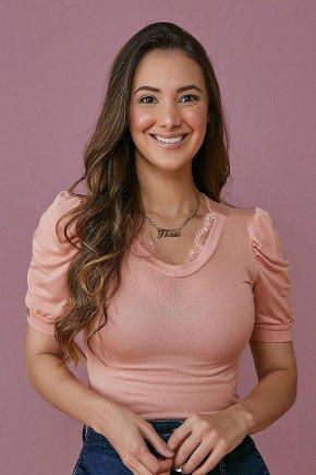 blusa podrinha rosa claro decote v com renda tata martello