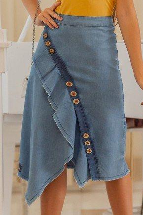saia jeans evase barra assimetrica com babados raje frente baixo