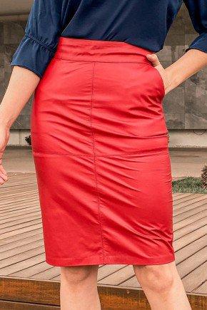 saia em couro vermelha reta pele mania pm4502 baixo