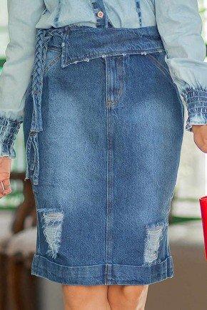 saia jeans sobreposicao no cos e cinto em tranca raje frente baixo