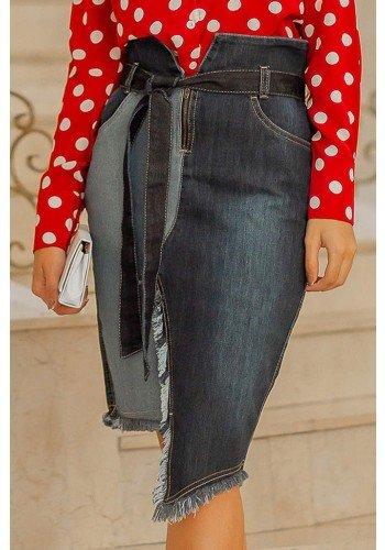 saia jeans assimetrica cintura alta raje frente baixo