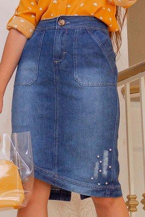 saia jeans barra assimetrica com puidos e perolas raje frente baixo