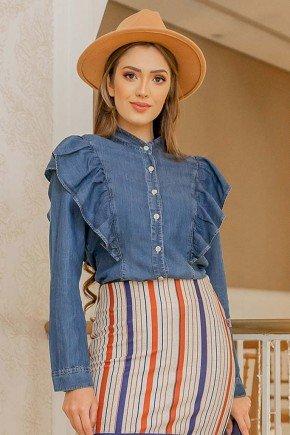 camisa feminina com babados e manga longa raje frente cima