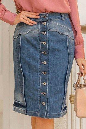 saia jeans recortes scallopes botoes frontais raje frente baixo