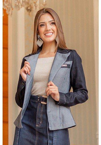 casaco spencer jeans recorte frontal jeans avesso raje frente cima