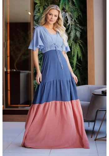 vestido longo saia tripla mangas gode fasciniu s frente