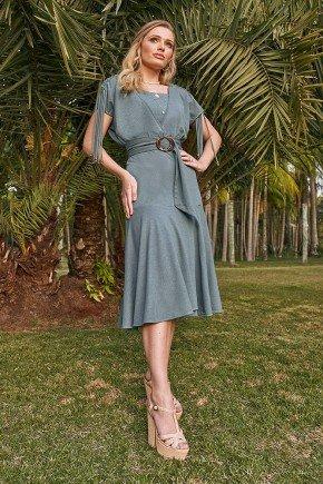 vestido verde evase detalhe tiras nas mangas fasciniu s frente