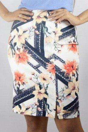 saia lapis estampa exclusiva nitido jeans frente