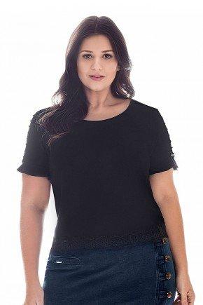 blusa plus size preto bordados nas mangas nitido