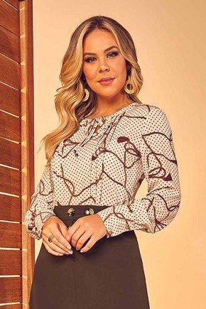 blusa manga longa estampada com amarracao via tolentino frente cima