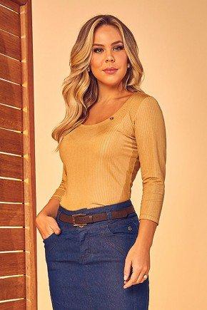 blusa canelada mangas 34 dourado via tolentino