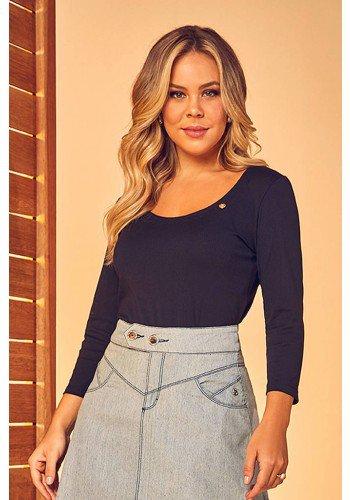 blusa canelada mangas 3 4 preto via tolentino frente cima