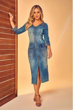 vestido jeans maxi bolsos e bordado via tolentino frente
