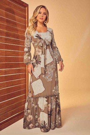 vestido longo estampado via tolentino frente