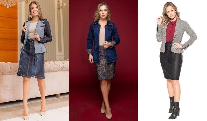 post no blog como usar blazer com saia