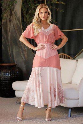 vestido gode estampado tricolor fasciniu s frente