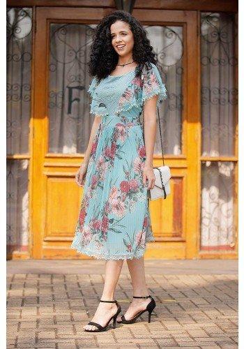 vestido floral plissado detalhes em guippir fasciniu s frente