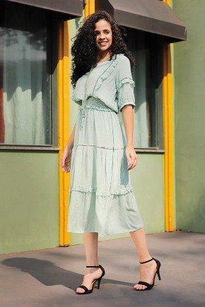 vestido midi detalhes em babados e guippir fasciniu s frente