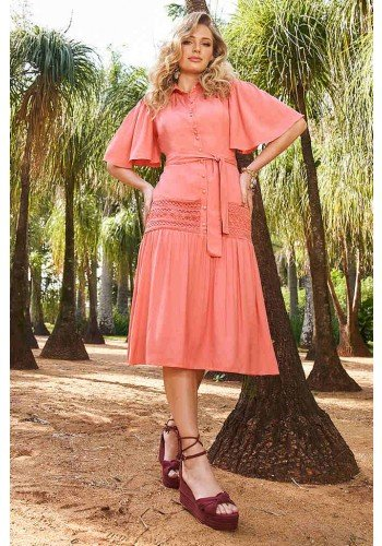 vestido coral mangas gode detalhes em guippir fasciniu s frente